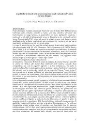 MONTRESOR, PECCI, PONTAROLLO, Politiche di sviluppo rurale a ...