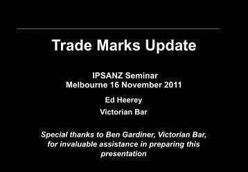 2011 IPSANZ Trade Marks Update - List G Barristers