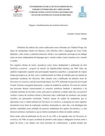 Origens e desdobramentos da semiótica discursiva - Universidade ...