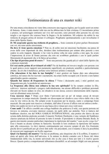 Testimonianza di una ex master reiki - Chiesa Cattolica Italiana