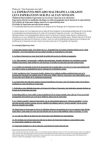 la esperanto-movado maltrafis la okazon levi ... - Plansprachen.ch