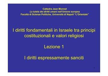 I diritti fondamentali in Israele tra principi I diritti ... - L'Orientale