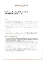 Publikationsliste (Stand Oktober 2011) Dr. Alexander Wittwer, LL.M.