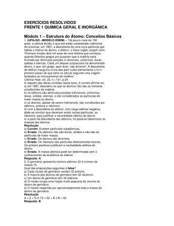 EXERCÍCIOS RESOLVIDOS FRENTE 1 QUÍMICA GERAL E ...
