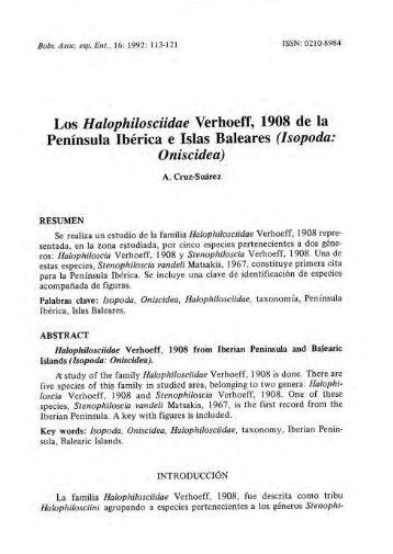Los Halophilosciidae Verhoeff, 1908 de la Península Ibérica e Islas ...