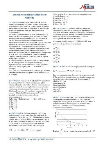 Exercícios de Radioatividade com Gabarito - Projeto Medicina