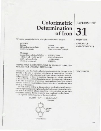 spectrophotometric determination of iron in a vitamin tablet Also, part of chem216 analytical chemistry laboratory the use of aas to quantify iron in vitamin tablet the extraction procedure is also included.