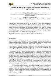 Estudo da relação: meio ambiente e marketing de valor - Abepro