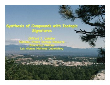 Synthesis of Compounds with Isotopic Signatures