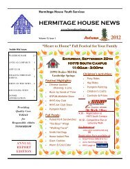 Fall 2012 Newsletter - Hermitage House Youth Services