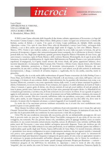 L. Clerici, Apparizione e visione. Vita e opere di Anna ... - Adda Editore
