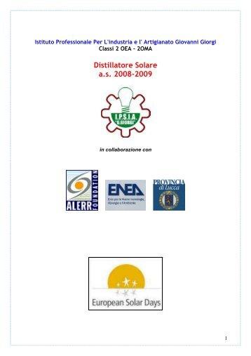 Distillatore Solare a.s. 2008-2009 - Provincia di Lucca