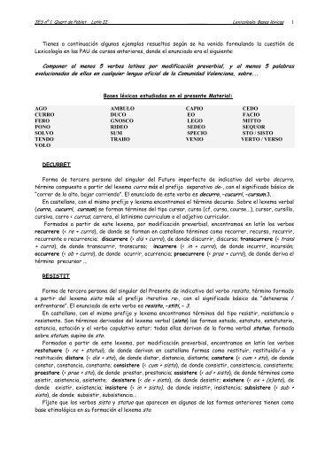 Lexicología: Estudio de bases léxicas
