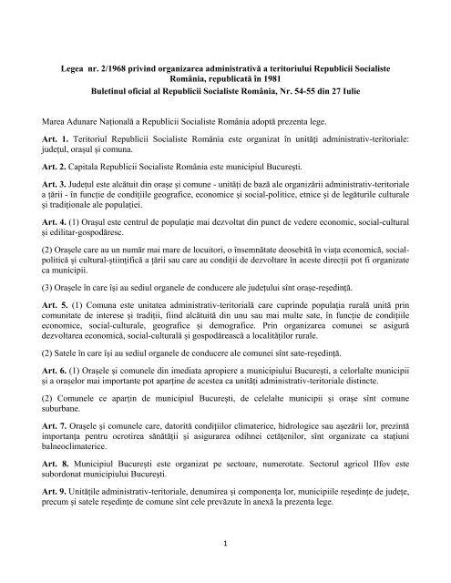 Legea nr  2/1968 privind organizarea administrativă a