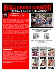 8TH GRADE NEWSLETTER - Ayala Cross Country Track