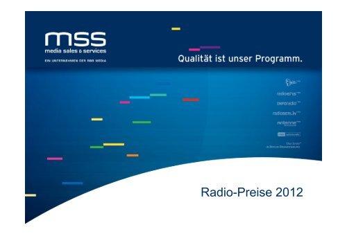 Radio-Preise 2012 - media sales & services GmbH