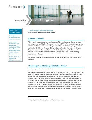 erisa litigation newsletter september 2011 - Proskauer Rose LLP