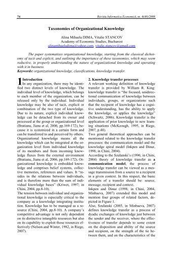 Taxonomies of Organizational Knowledge
