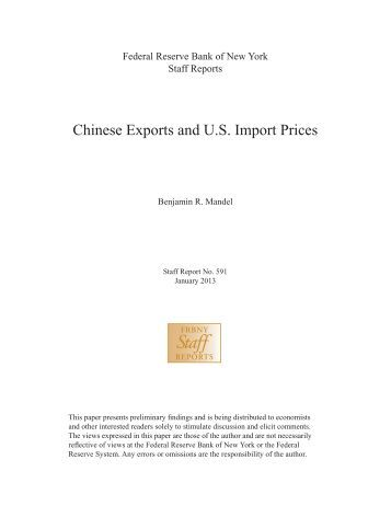 Chinese Exports and U.S. Import Prices - Federal Reserve Bank of ...