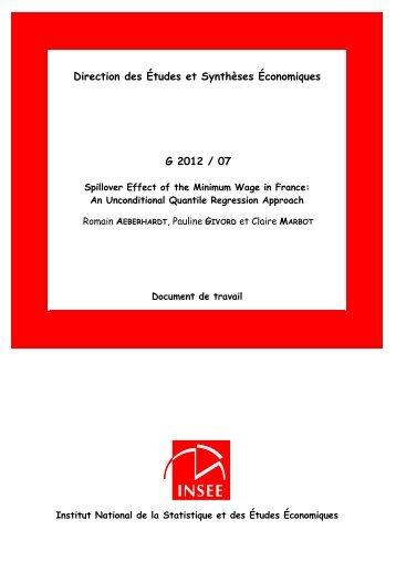Direction des Études et Synthèses Économiques G 2012 / 07 - Insee