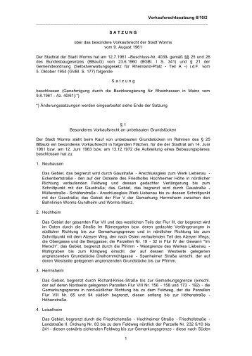 Vorkaufsrechtssatzung 6/10/2 1 S A T Z U N G über das - Worms