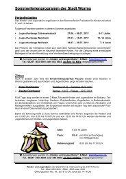 Sommerferienprogramm der Stadt Worms