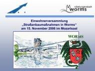 Straßenbaumaßnahmen in Worms