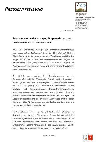 """Besucherinformationsmappe """"Worpswede und das Teufelsmoor 2011"""""""