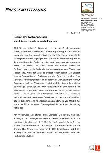 Beginn der Torfkahnsaison - Worpswede