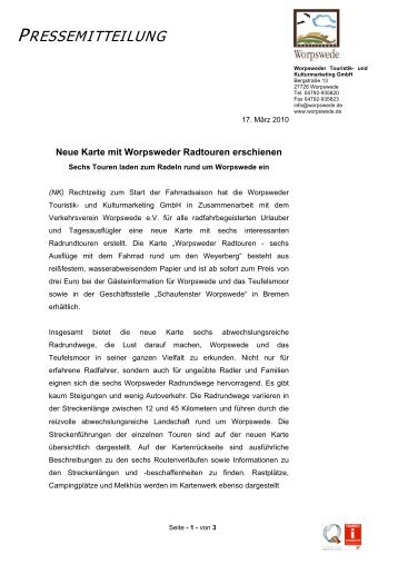 Neue Karte mit Worpsweder Radtouren erschienen