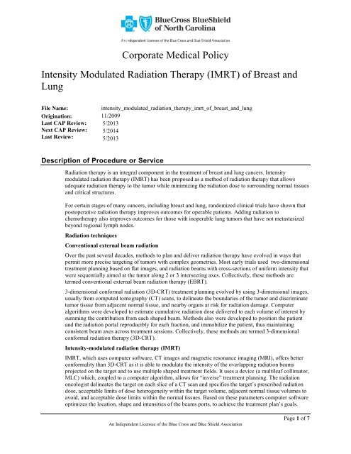 Intensity Modulated Radiation Therapy (IMRT) of Breast and Lung
