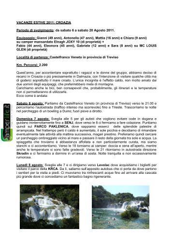 VACANZE ESTIVE 2011: CROAZIA Periodo di ... - Camperlife