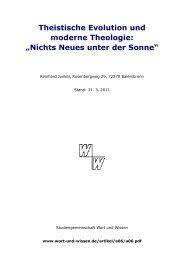 Theistische Evolution und moderne Theologie ... - Wort und Wissen