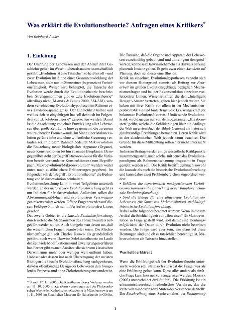 Was erklärt die Evolutionstheorie? - Wort und Wissen