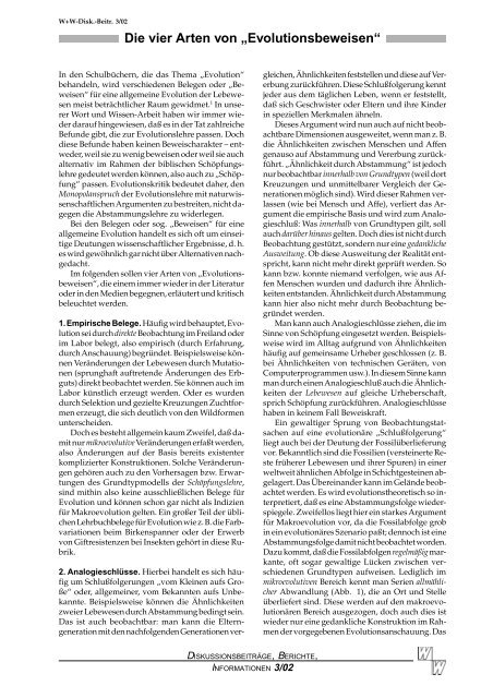 """Die vier Arten von """"Evolutionsbeweisen"""" - Wort und Wissen"""