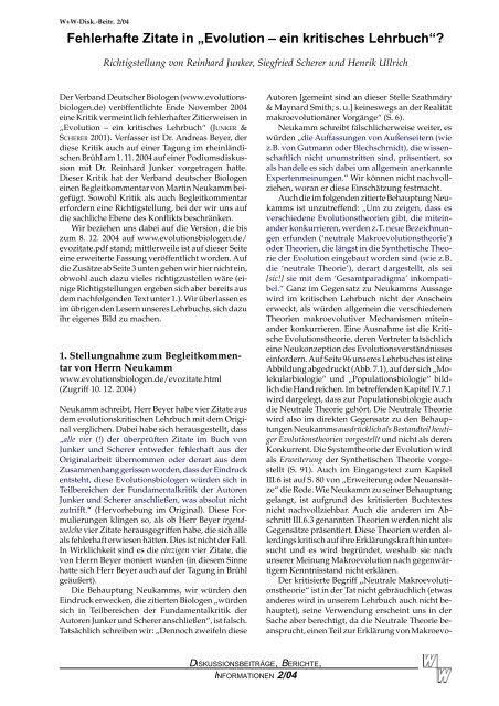 """Fehlerhafte Zitate in """"Evolution – ein kritisches ... - Wort und Wissen"""