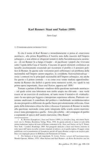 Karl Renner: Staat und Nation (1899)