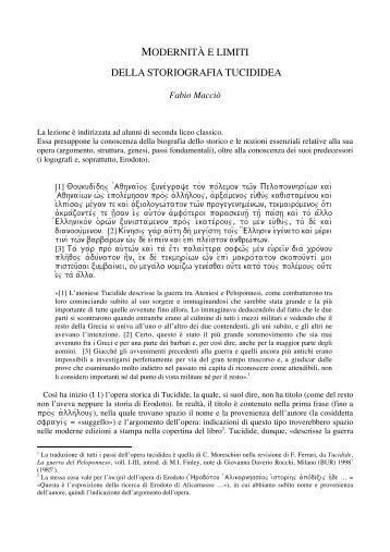modernità e limiti della storiografia tucididea - Loescher Editore