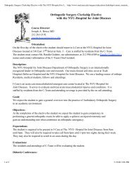 Orthopedic Surgery Clerkship Elective with The NYU-Hospital for ...