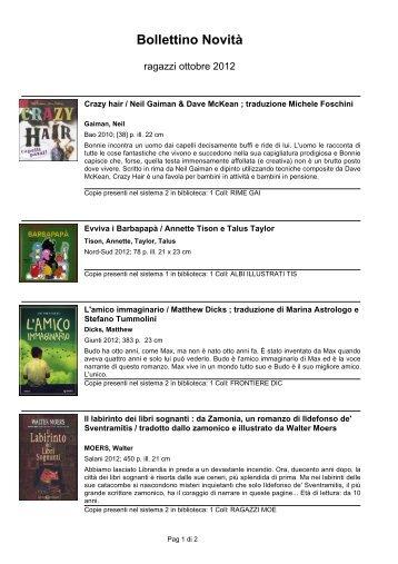 Novità - ragazzi ottobre 2012 - biblioteca comunale di monfalcone