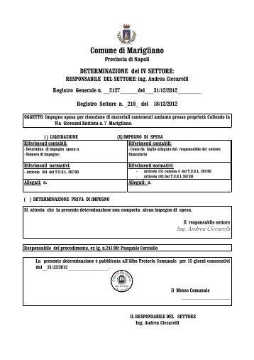 DETERMINAZIONE del IV SETTORE - Comune di Marigliano