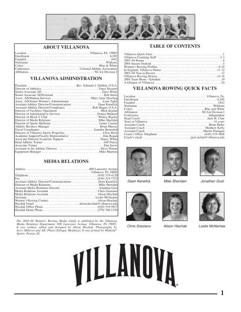 table of contents villanova rowing quick facts about ... - Community