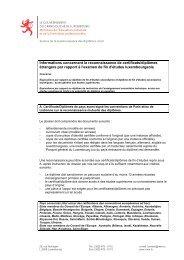 Informations concernant la reconnaissance de certificats/diplômes ...