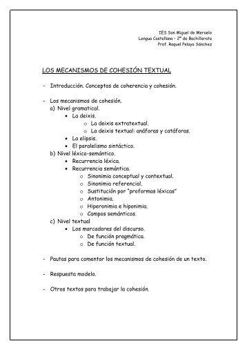 LOS MECANISMOS DE COHESIÓN - Blog de Lengua y Literatura