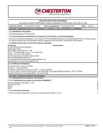 FICHA DE DATOS DE SEGURIDAD - AW Chesterton - A.W. ...