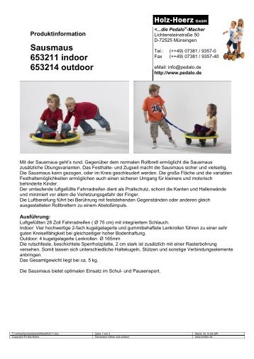 Sausmaus 653211 indoor 653214 outdoor - Pedalo