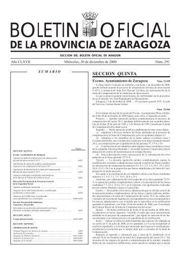 BOLETIN OFICIAL - Diputación Provincial de Zaragoza