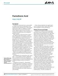 Pantothenic Acid - Alternative Medicine Review