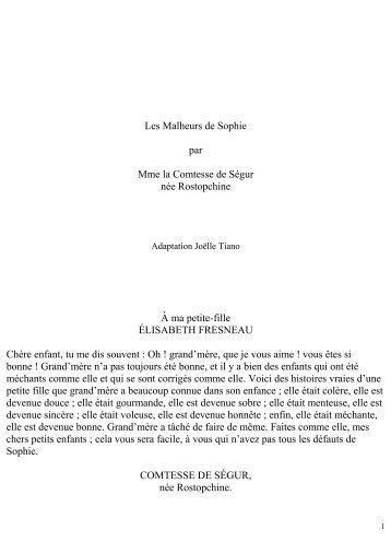 Les Malheurs de Sophie par Mme la Comtesse ... - Le Livre Qui Parle