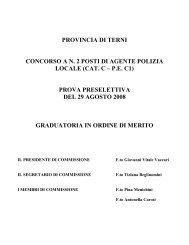concorso a n. 2 posti di agente polizia locale - Provincia di Terni